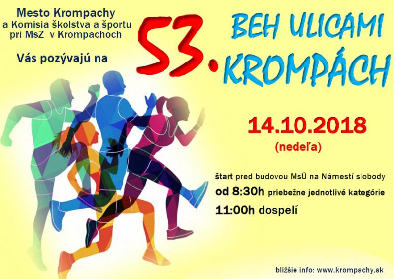 133be8a2c Mesto Krompachy pozýva všetkých športových priaznivcov na 53. ročník Behu  ulicami mesta Krompachy, ktorý sa bude konať v nedeľu 14. októbra 2018.